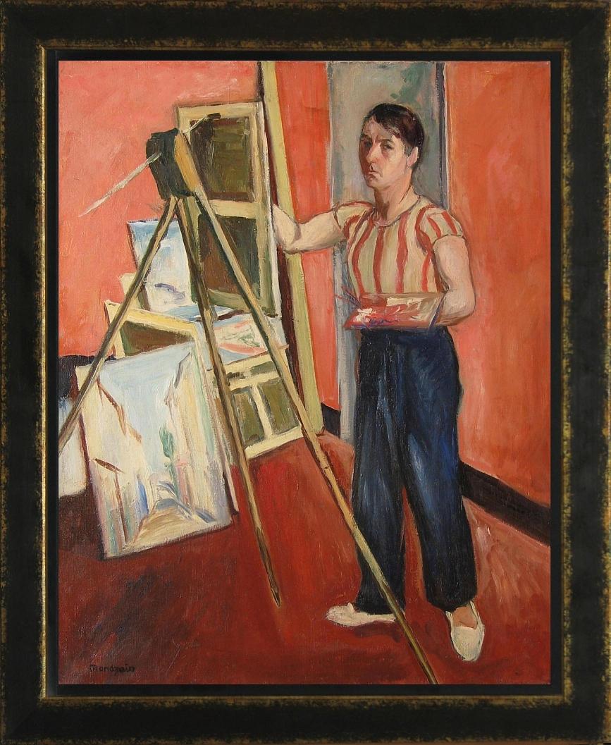 Mondzain Szymon (1888 – 1979), Autoportret przy sztaludze, lata 20-te XX wieku