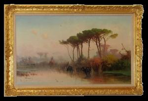 Cieszkowski Henryk (1832-1895), Pejaż z piniami, 1884