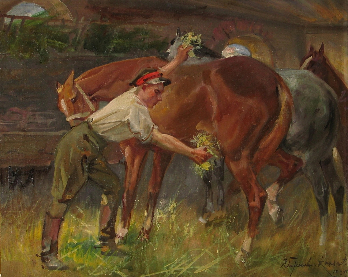 Kossak Wojciech (1856-1942), W stajni, 1929