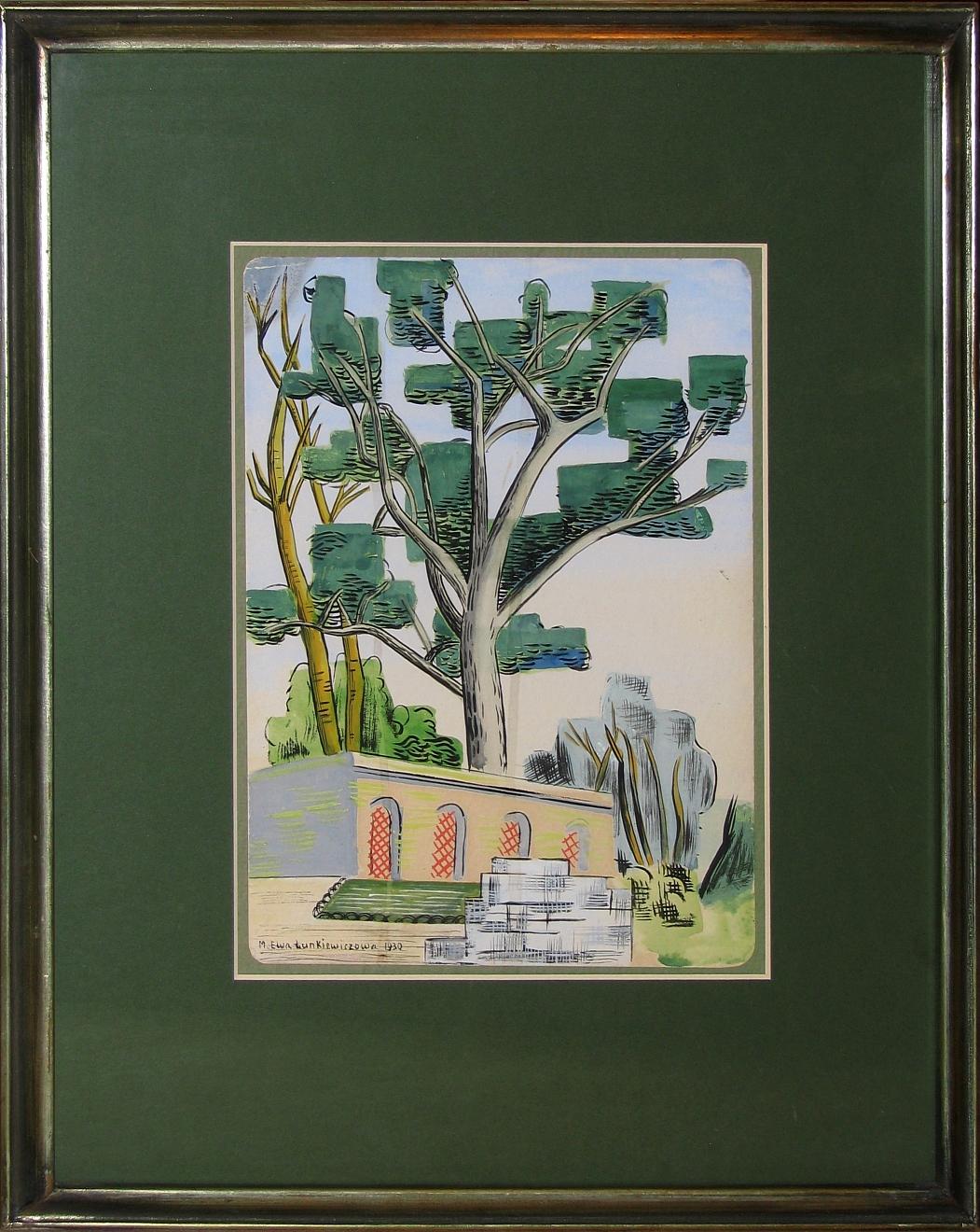 Łunkiewicz - Rogoyska Maria Ewa (1895-1967), Pejzaż z drzewami i architekturą,1930