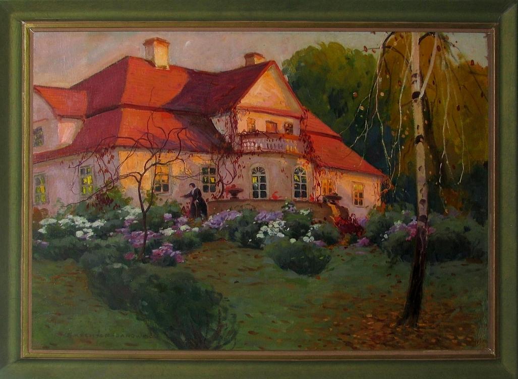 Rychter - Janowska Bronisława (1868-1953), Dworek w popołudniowym, jesiennym słońcu