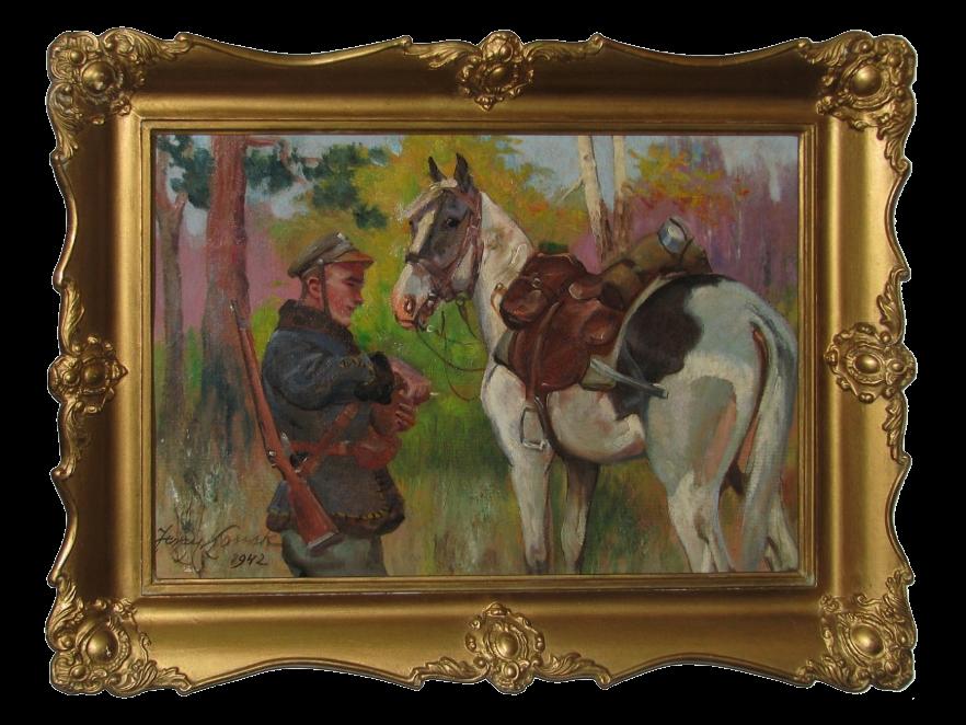 Kossak Jerzy (1886-1955), Ułan z koniem, 1942