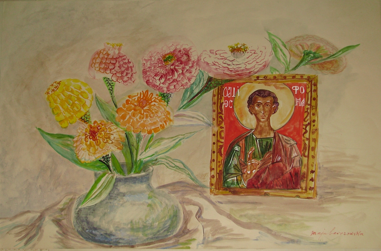 Berezowska Maja (1897 - 1978), Martwa natura z kwiatami i ikoną