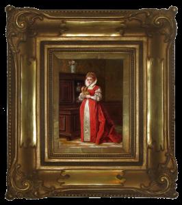 Bakałowicz Władysław (1833-1903), Dama w czerwieni