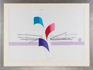 Gronowski Tadeusz (1894-1990),  Studium do kompozycji z fioletowym dyskiem, lata 80-te.