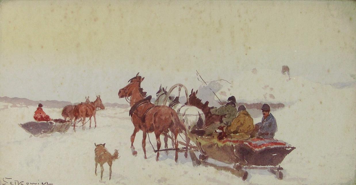 Setkowicz Adam (1876-1945), Sanie w zimowym pejzażu.