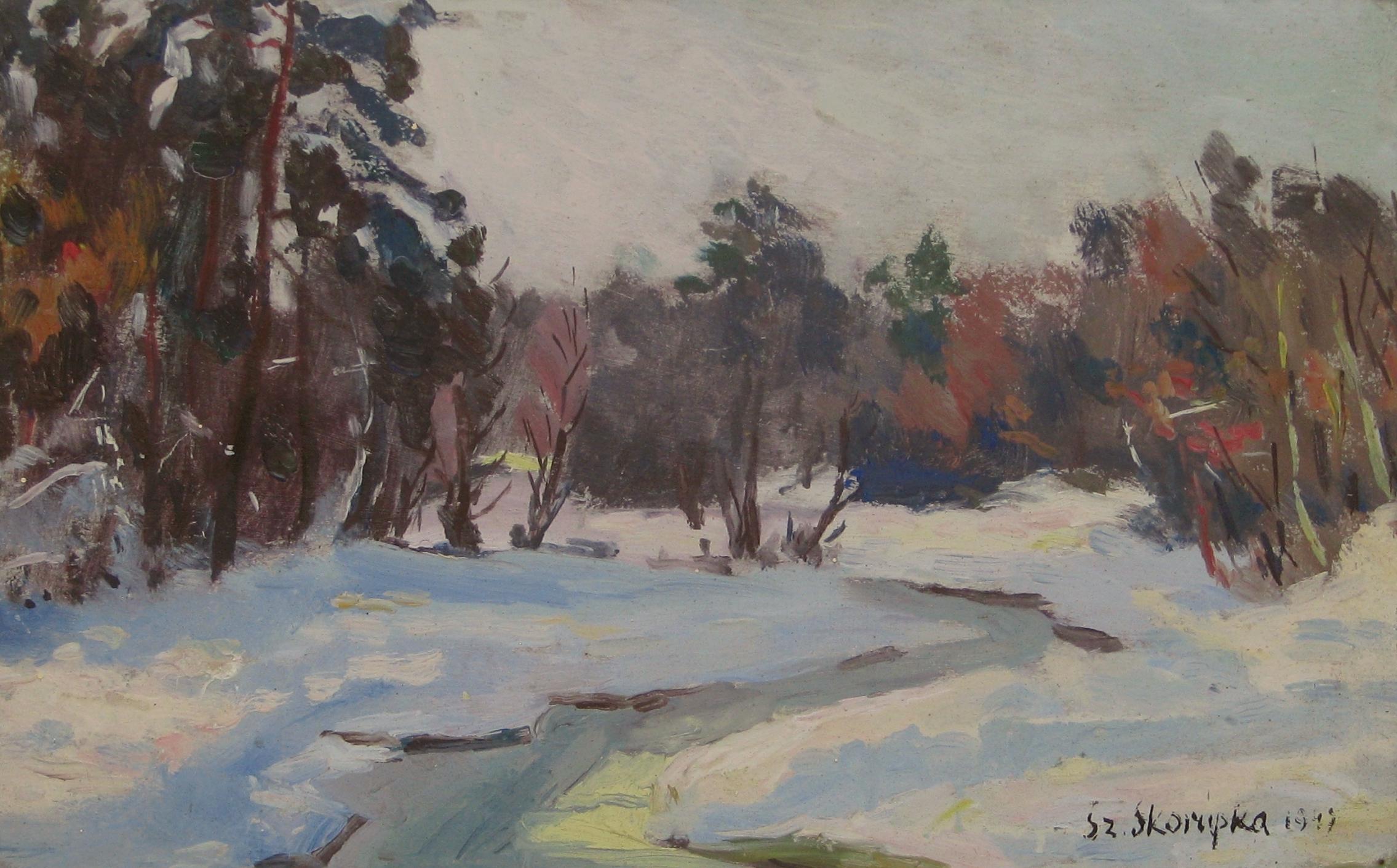 Skorupka Szczepan (1903-1997), Pejzaż zimowy, 1947