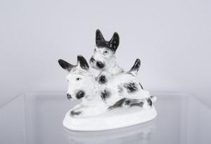 Figurka porcelanowa - Teriery szkockie, Carl Scheidig, 1935-1990