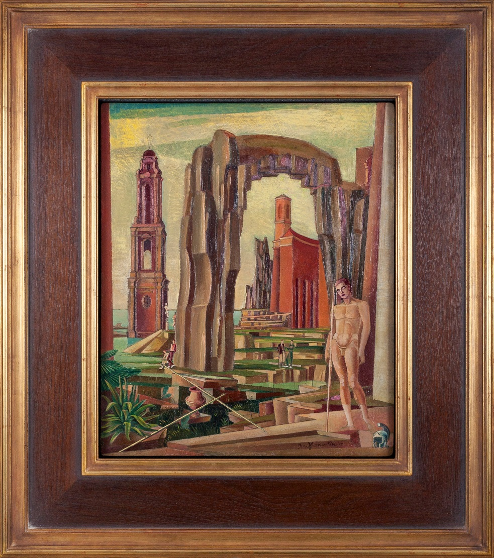 KACZMARKIEWICZ JAN (1904 - 1989), AKT NA TLE ARCHITEKTURY