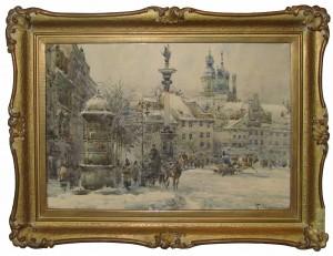 Chmieliński Władysław (1911-1979), Plac Zamkowy zimą
