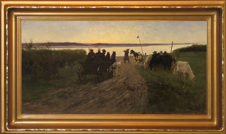 """Daczyński Maksymilian Leopold Stanisław (Wiśnicz k. Bochni 1856 - 1923) """"W oczekiwaniu na prom"""", 1888"""