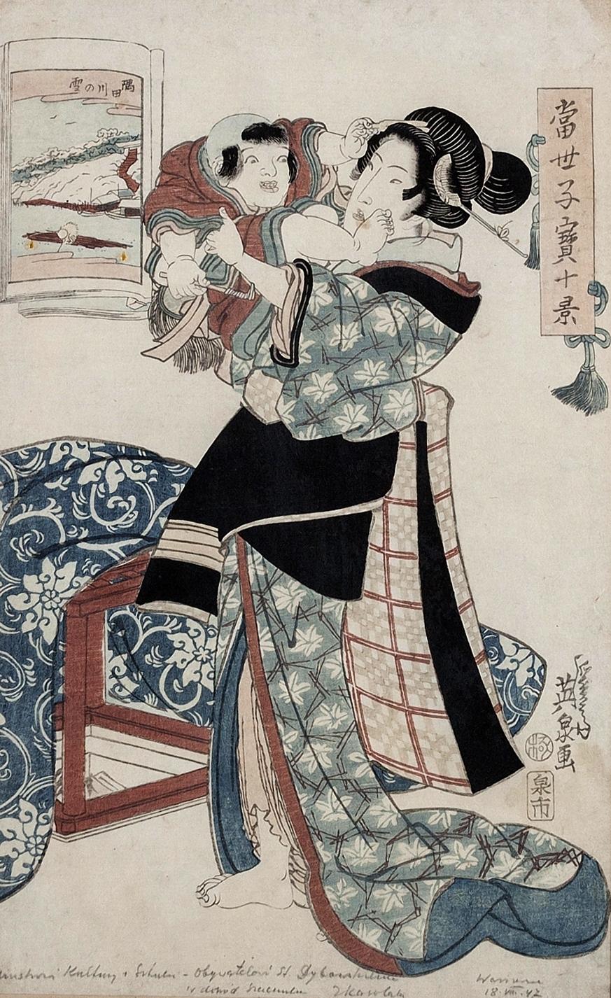 EISEN Keisai (1790 - 1848), Kobieta z chłopcem
