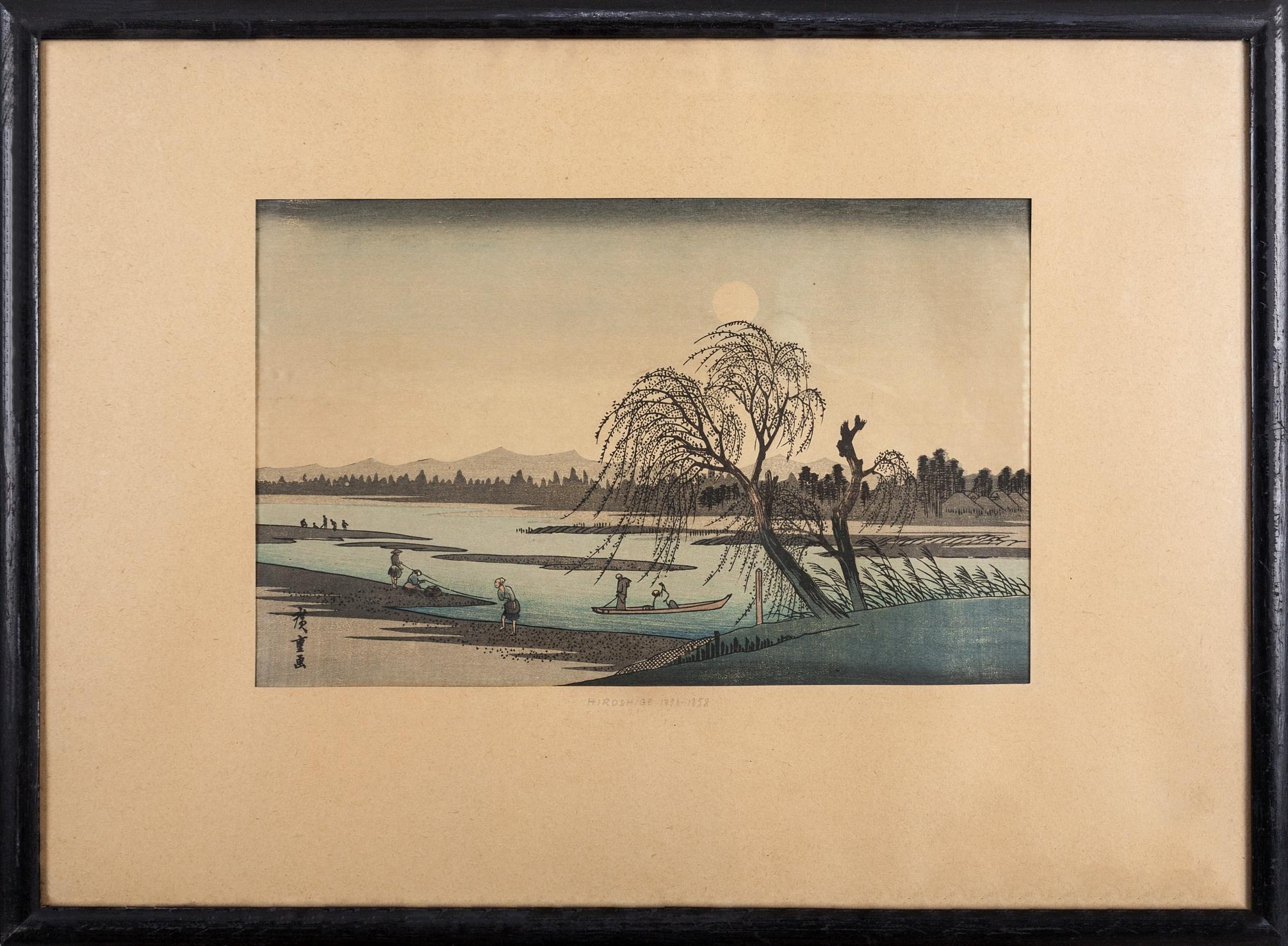 HIROSHIGE Andō (Utagawa) (1797 Edo - obecnie Tokio - 1858), Postacie nad rzeką Tama