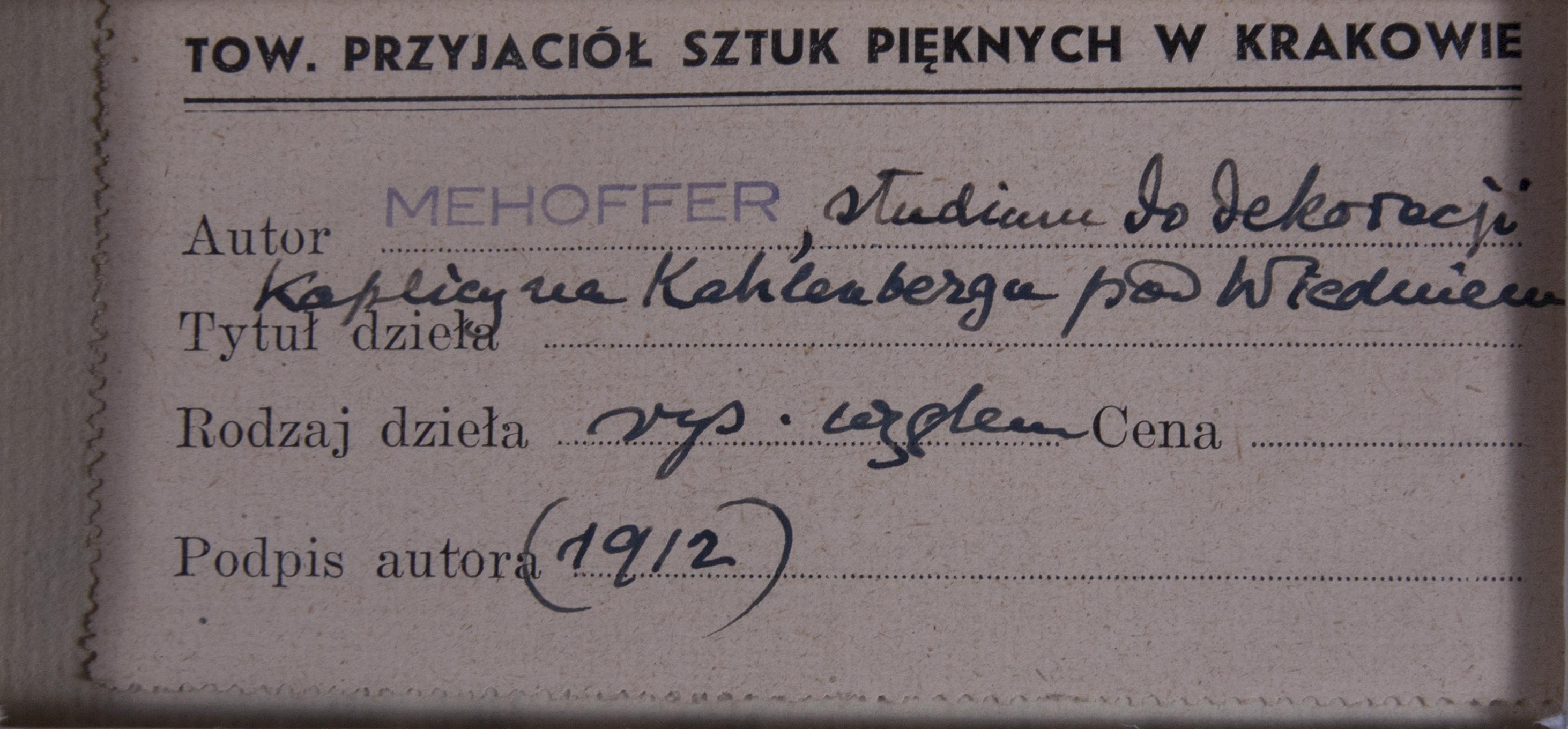 JÓZEF MEHOFFER (1869-1946), STUDIUM DO DEKORACJI KAPLICY NA KAHLENBERGU POD WIEDNIEM