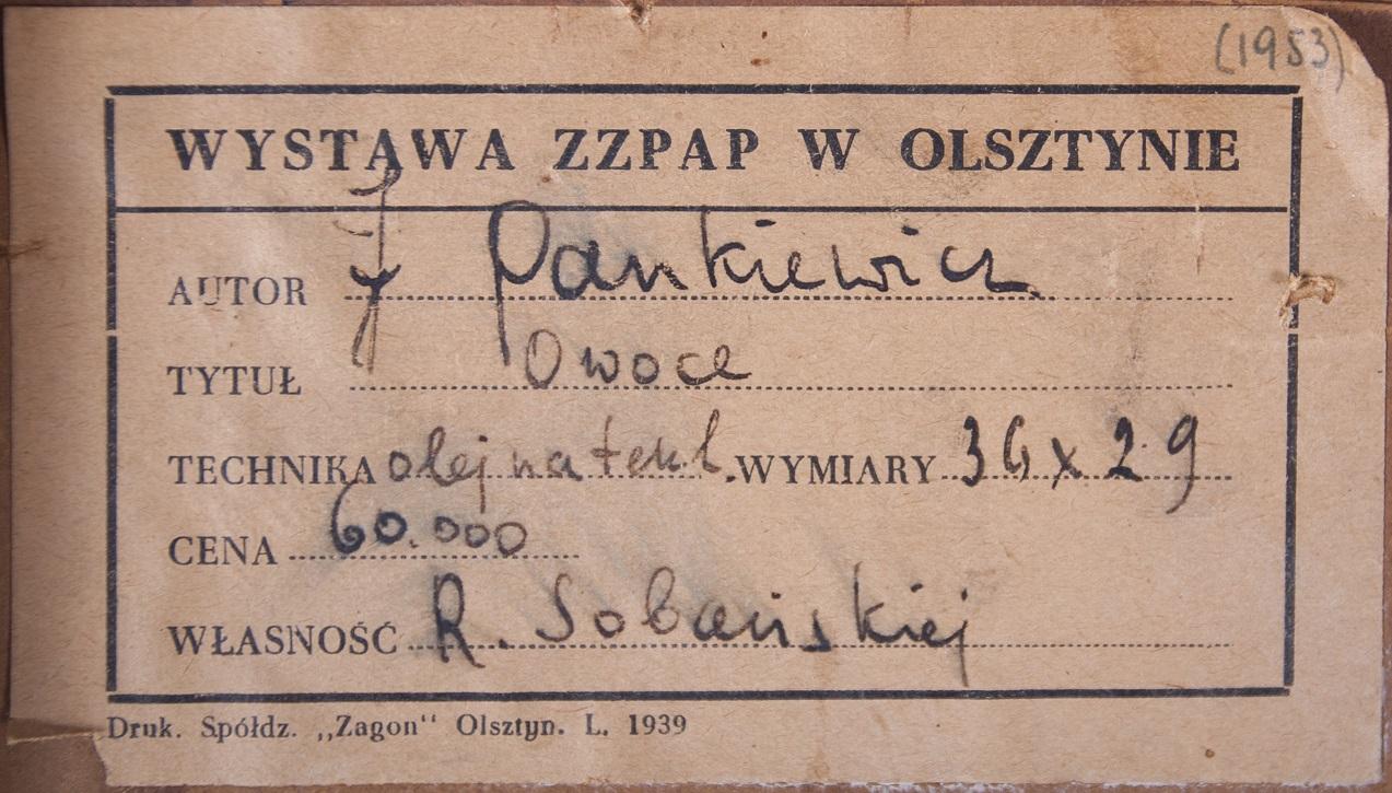 PANKIEWICZ JÓZEF (1866 - 1940), OWOCE